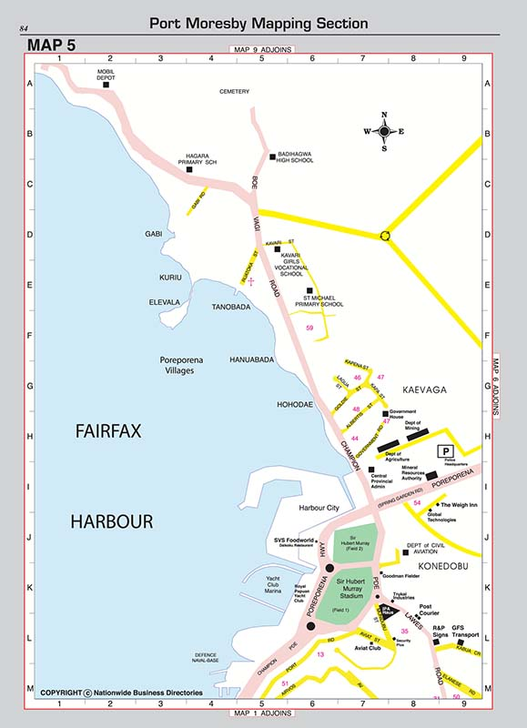 Detailed street directory maps for Port Moresby, Lae, Goroka, Mt Hagen and Madang